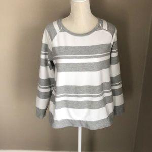 Liz Claiborne Grey and White Striped Sweater